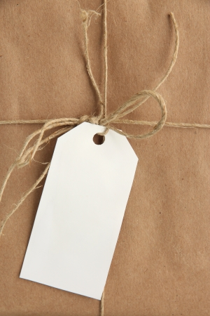 parcel box with kraft paper, close up
