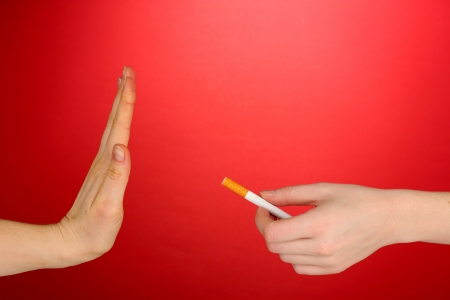 Concept: stop smoking, on red background