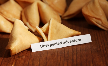 Fortune cookies on wooden table