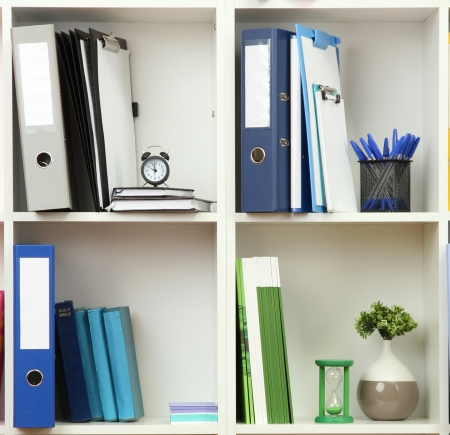 White office shelves with different stationery