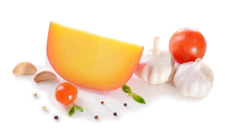 Tasty Italian cheese, isolated on white