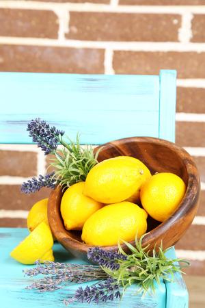 Still life with fresh lemons and lavender