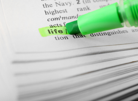 Green marker highlighting word in dictionary