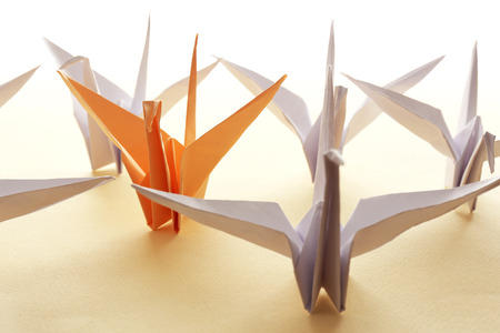 Individuality concept. Origami birds on light background
