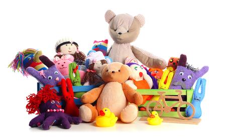 Photo pour Pile of toys isolated on white - image libre de droit