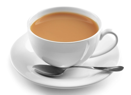 Photo pour Porcelain cup of tea with milk isolated on white background - image libre de droit