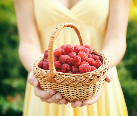 Woman holding fresh raspberries in wicker basket