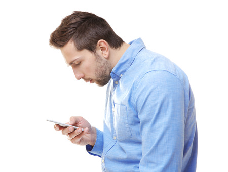 Incorrect posture concept. Man with phone isolated on white