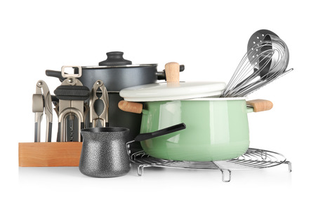 Foto de Different cooking utensils on white background - Imagen libre de derechos
