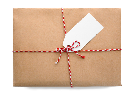 Foto de Parcel gift box on white background - Imagen libre de derechos
