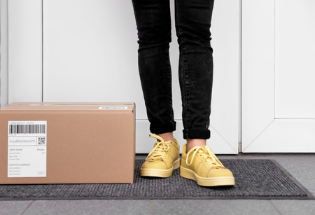 Photo pour Woman standing near delivered parcel on doormat, closeup - image libre de droit