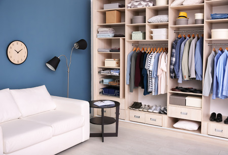 Foto de Dressing room interior with big wardrobe - Imagen libre de derechos