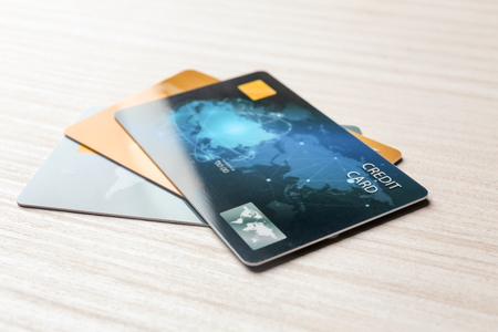 Photo for Credit cards on table, closeup - Royalty Free Image