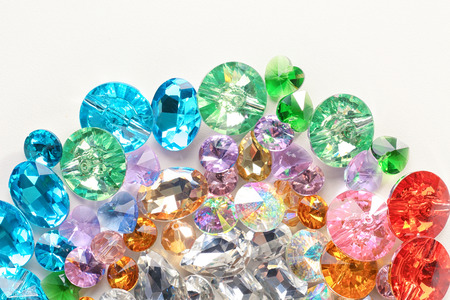 Photo pour Colorful precious stones for jewellery on white background - image libre de droit