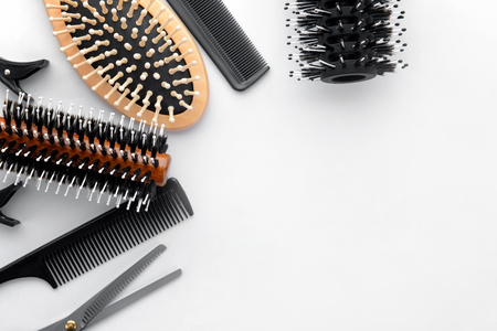 Foto per Professional hairdresser's set on white background, top view - Immagine Royalty Free