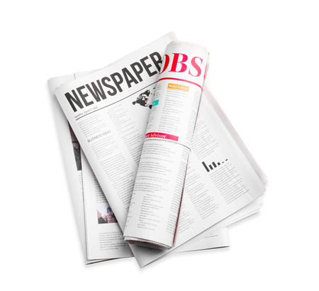 Photo pour Newspapers on white background - image libre de droit