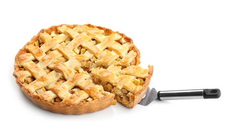 Photo pour Tasty homemade apple pie on white background - image libre de droit