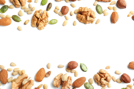 Photo for Different nuts on white background - Royalty Free Image