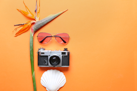Summer composition with tropical flower, camera and sunglasses on color background