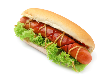 Foto de Tasty hot dog with lettuce and sauces on white background - Imagen libre de derechos