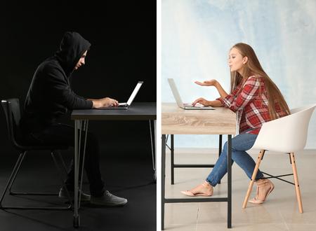 Photo pour Young woman having online date with fake boyfriend. Concept of internet fraud - image libre de droit