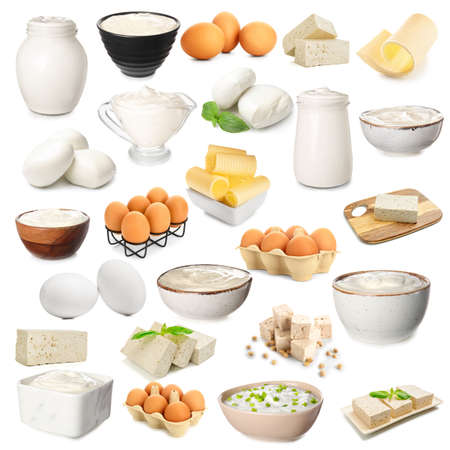Photo pour Set of different dairy products on white background - image libre de droit