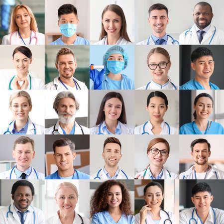 Photo pour Collage of photos with different doctors and nurses - image libre de droit