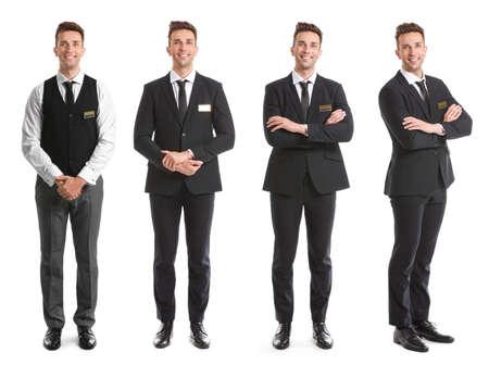 Photo pour Male receptionist on white background - image libre de droit