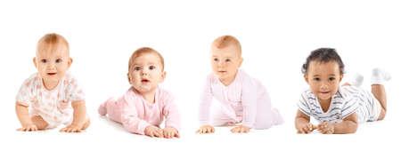 Photo pour Cute little babies on white background - image libre de droit