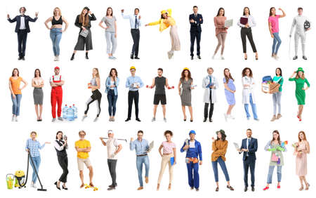 Photo pour Collage with different people on white background - image libre de droit