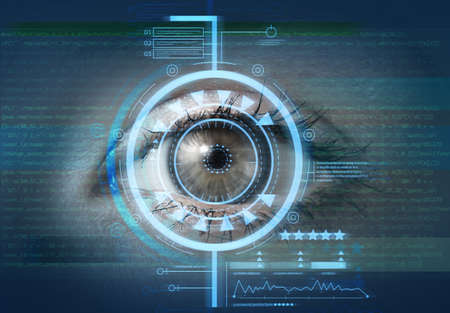 Photo for Young woman with iris scanning, closeup. Concept of cyber security - Royalty Free Image