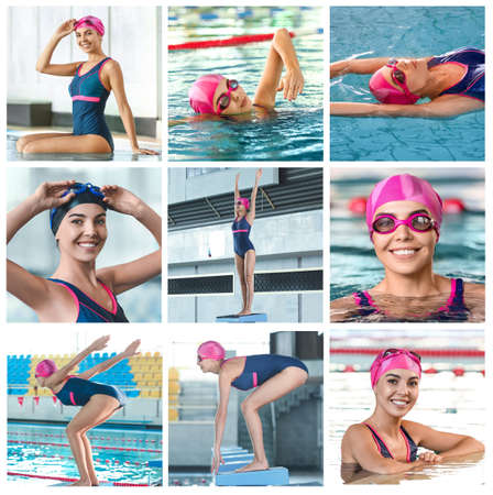 Photo pour Collage of sporty female swimmer in pool - image libre de droit