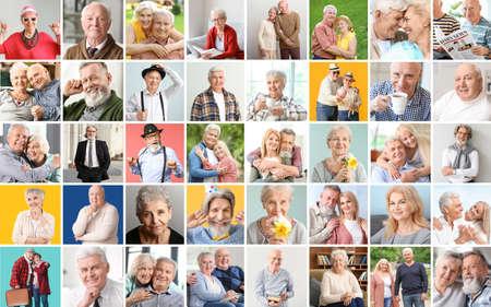 Photo pour Collage of different elderly people - image libre de droit