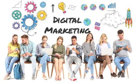 Photo pour Young people sitting on white background. Concept of digital marketing - image libre de droit