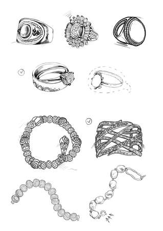 Photo pour Sketches of beautiful jewelry on white background - image libre de droit