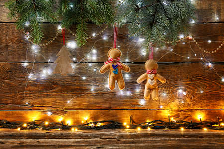 Photo pour Beautiful Christmas composition on wooden background - image libre de droit