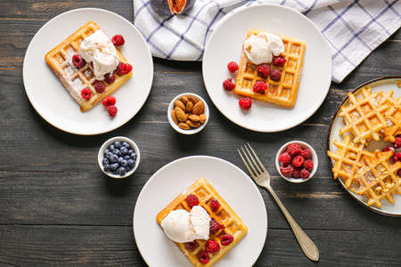 Photo for Composition with tasty waffles on table - Royalty Free Image