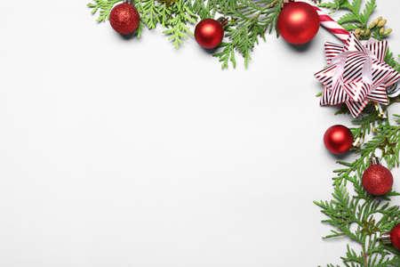 Foto de Beautiful Christmas composition on white background - Imagen libre de derechos