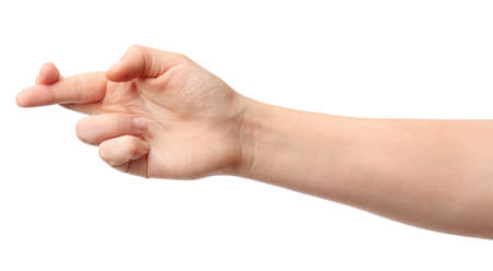 Photo for Hand of woman with crossed fingers on white background - Royalty Free Image