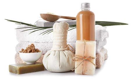 Photo pour Composition with spa items on white background - image libre de droit