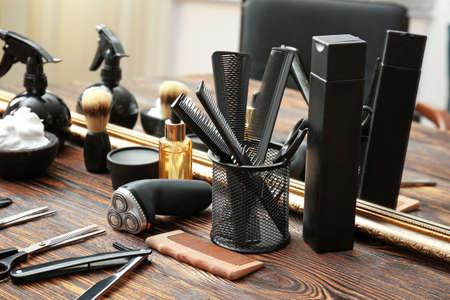 Foto für Professional barber's tools on table in salon - Lizenzfreies Bild
