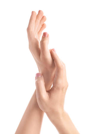 Photo pour Hands of beautiful young woman on white background - image libre de droit