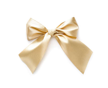 Photo pour Bow made of beautiful golden ribbon on white background - image libre de droit