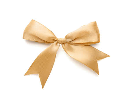 Photo for Bow made of beautiful golden ribbon on white background - Royalty Free Image