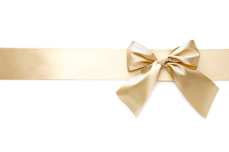 Photo pour Golden ribbon with beautiful bow on white background - image libre de droit
