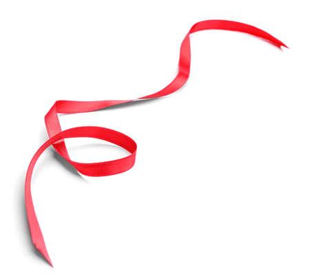 Photo pour Beautiful red ribbon on white background - image libre de droit
