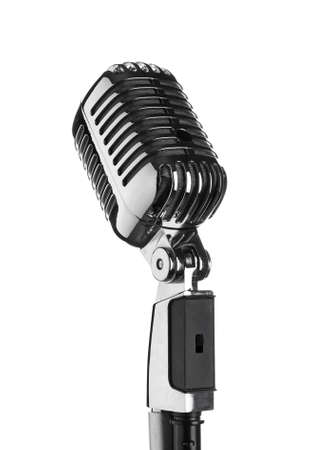 Photo for Retro microphone on white background - Royalty Free Image