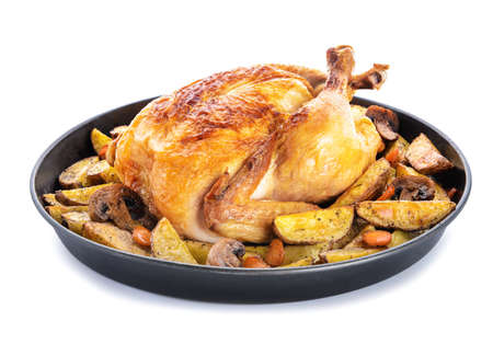 Photo pour Dish with baked chicken and potato on white background - image libre de droit