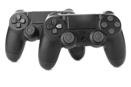 Photo for Modern game pads on white background - Royalty Free Image