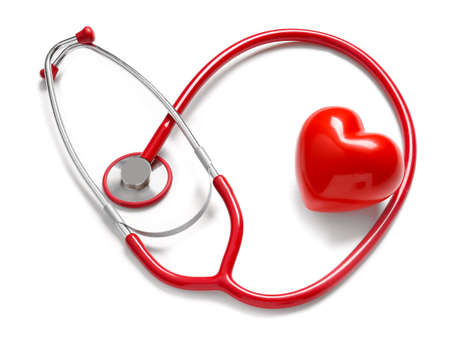 Photo pour Stethoscope and red heart on white background. Cardiology concept - image libre de droit